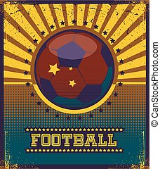 Football retro style vector art