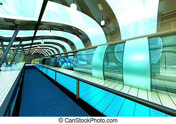 Futuristic Subway Station - A futuristic subway or train...