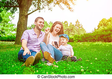 family - enjoying the life together - family outdoor -...