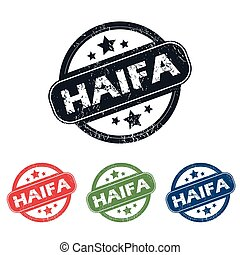 Round Haifa city stamp set - Set of four stamps with name...