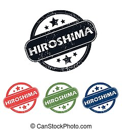 Round Hiroshima city stamp set - Set of four stamps with...