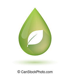 Olive oil drop icon with a leaf