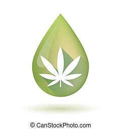 Olive oil drop icon with a marijuana leaf - Illustration of...