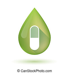 Olive oil drop icon with a pill - Illustration of an...