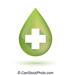 Olive oil drop icon with a pharmacy sign - Illustration of...