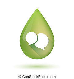 Olive oil drop icon with a comic balloon - Illustration of...