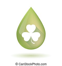 Olive oil drop icon with a clover