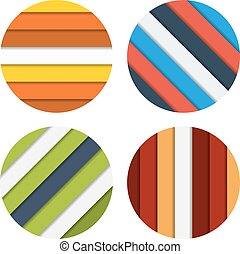 Collection of 4 isolated badge colorful striped backgrounds