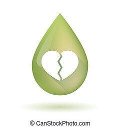 Olive oil drop icon with a broken heart