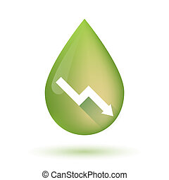 Olive oil drop icon with a graph