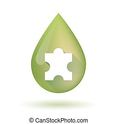 Olive oil drop icon with a puzzle piece - Illustration of an...