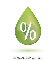 Olive oil drop icon with a discount sign - Illustration of...