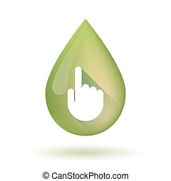 Olive oil drop icon with a pointing hand