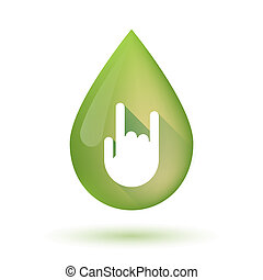 Olive oil drop icon with a rocking hand - Illustration of an...