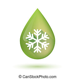 Olive oil drop icon with a snow flake - Illustration of an...