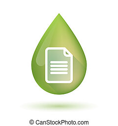 Olive oil drop icon with a document - Illustration of an...