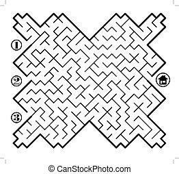 Labyrinth - Find way across labyrinth to the home. Three...