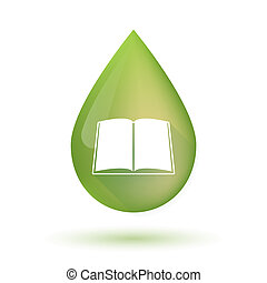 Olive oil drop icon with a book - Illustration of an...