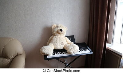 Teddy on piano - Vintage teddy playing piano - what toys get...