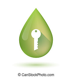 Olive oil drop icon with a key - Illustration of an isolated...