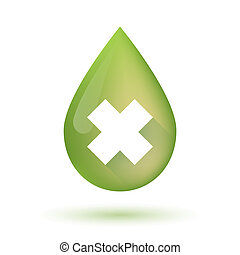 Olive oil drop icon with an irritating substance sign