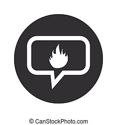 Round dialog fire icon - Image of flame in chat bubble, in...