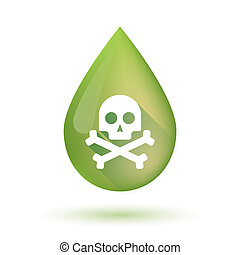 Olive oil drop icon with a skull