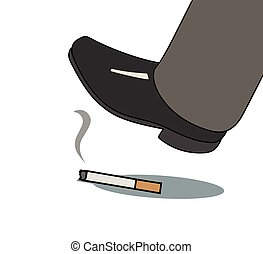 foot over cigarette - This is an illustration of foot over...