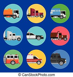 Cars icons on a blue background