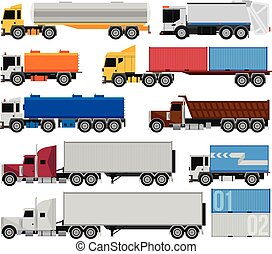 Trucks and trailers on a white background. Delivery and...