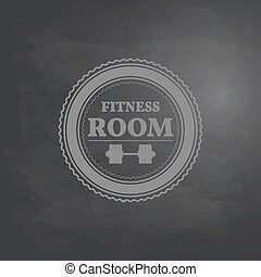 Emblem fitness room in retro style on background drawing...
