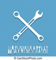 fixed it - White wrench icon white cross on a blue...