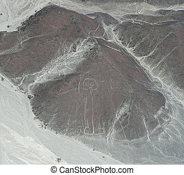 nasca-astronaut - drawing in the Nazca Desert, view from...