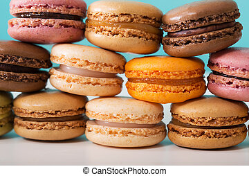 Stack of macarons - Stack of multi-colored macarons over...