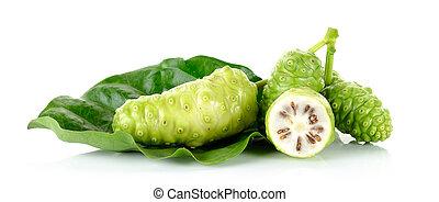 exoticas, fruta, -, Noni, isolado, ligado, a, branca, fundo,...