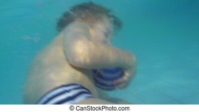 Child diving twice in the pool - Little boy on vacation He...