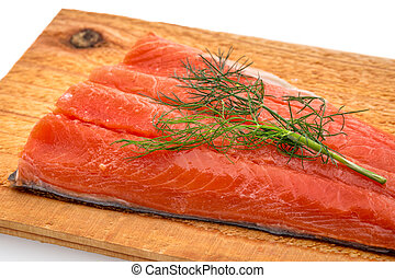 sockeye salmon ready for grilling - a portion of sockeye...