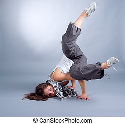 breakdance - cool looking dancer posing . breakdance