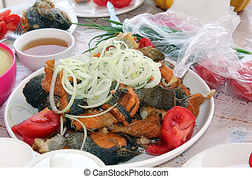 Fried rainbow trout.