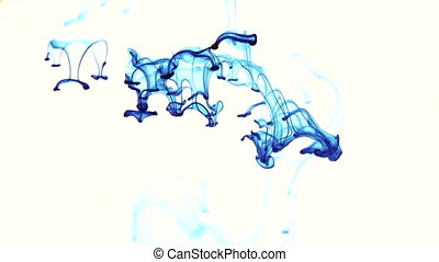 Blue Ink In Water. White background - Inks come in crystal...