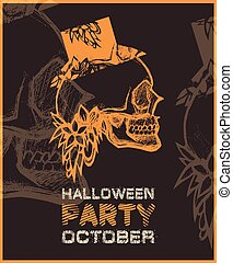 Halloween party poster with skull