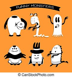 Cartoon funny monsters Halloween