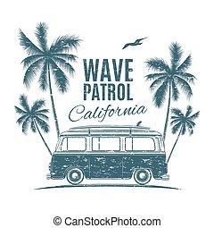 retro, surfar, furgão, com, palmas, e, Um, seagull.,