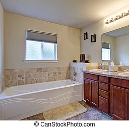 Elegant master bathroom with shower and bathtub.