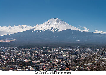 Fujikawa Town and Mountain Fuji view from Red pagoda in...