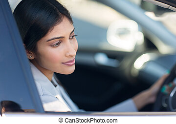 indian woman driving her new car