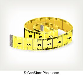 Yellow tape measure in inches Vector illustration