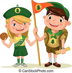 Children scouts Vector flat illustration