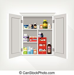 Cupboard with medicines Vector flat illustration