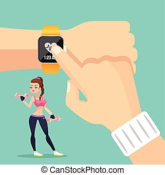 Sports watch. Vector flat illustration